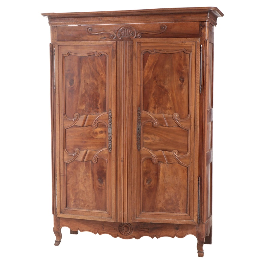 French Louis XV Style Fruitwood Armoire, Mid to Late 19th Century