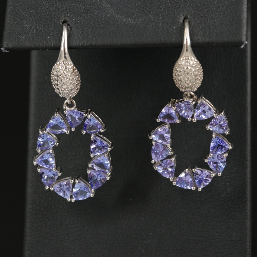 Sterling Tanzanite Hoop Drop Earrings
