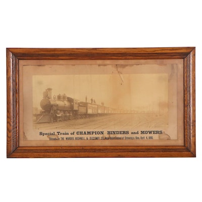 """Albumen Photograph """"Special Train of Champion Binders and Mowers,"""" 1890"""