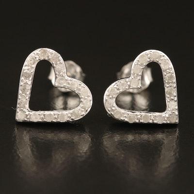 Sterling Diamond Heart Openwork Earrings