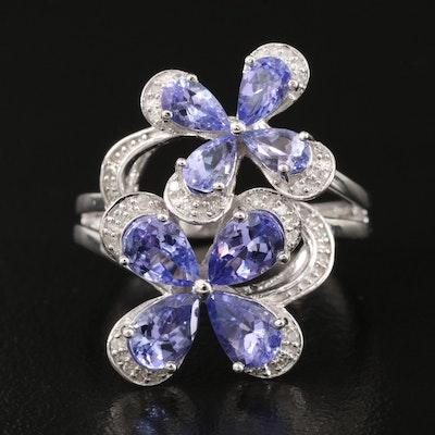 Sterling Silver Tanzanite and Diamond Split Shank Ring