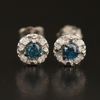 Sterling Diamond Halo Earrings with Cubic Zirconia