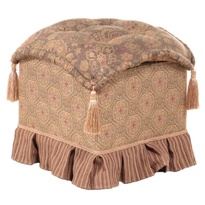 ACG Green Group Custom-Upholstered, Button-Tufted, and Tasseled Stool