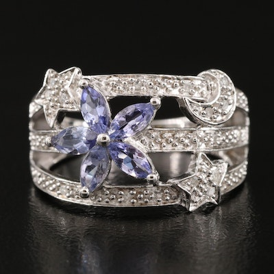 Sterling Silver Tanzanite and Diamond Celestial Flower Ring