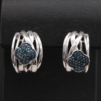 Sterling Diamond Quatrefoil Crossover J Hoop Earrings