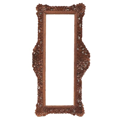 South Asian Inspired Floral and Scroll Motif Carved Wood Frame