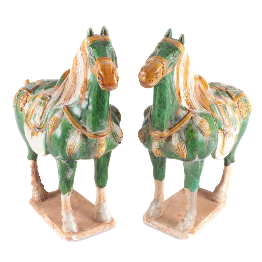 Chinese Tang Dynasty Style Sancai Glazed Earthenware Horse Figures