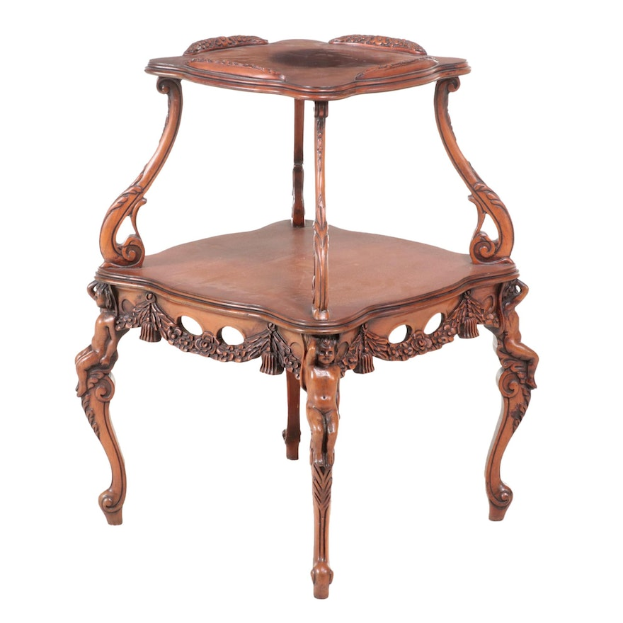 Rococo Style Carved Walnut Two-Tier Side Table, Possibly Italian, circa 1930