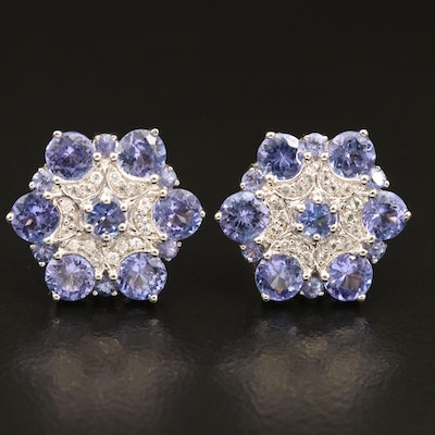 Sterling Tanzanite and Diamond Floral Cluster Earrings