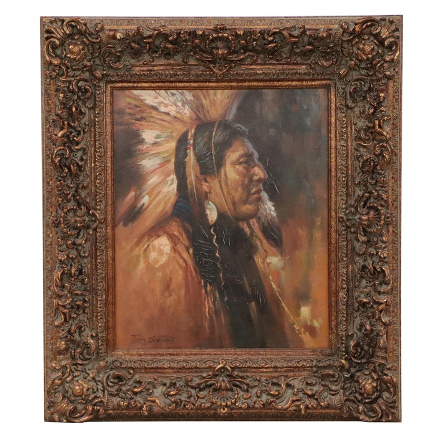 Troy Denton Oil Painting of Plains Native American, Late 20th Century