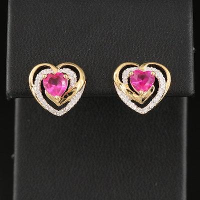 Sterling Ruby Heart Stud Earrings