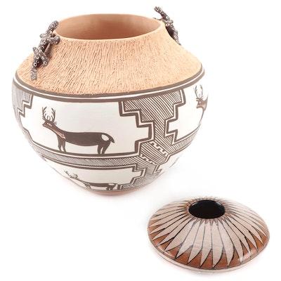 Noreen Simplicio Zuni Pottery Vessel with Manuel Olivas Mata Ortiz Seed Pot