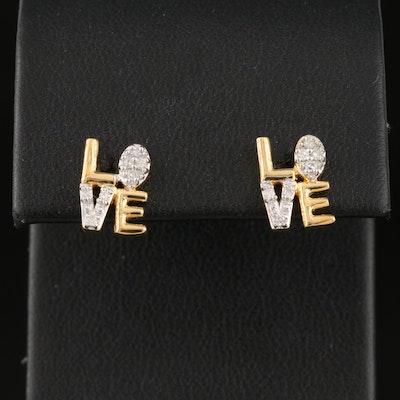 """Sterling Diamond """"LOVE"""" Stud Earrings"""