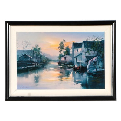 Hong Leung Embellished Giclée of Houses and Lake, Late 20th Century