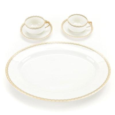 """Haviland & Co. """"Albany"""" Limoges Porcelain Flat Cups, Saucers and Serving Platter"""