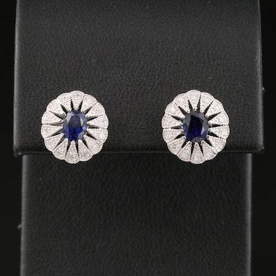 Sterling Sapphire and Diamond Stud Earrings