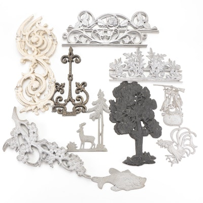 Cast Metal Wall Plaques and Scrolled Metal Accents, 20th Century