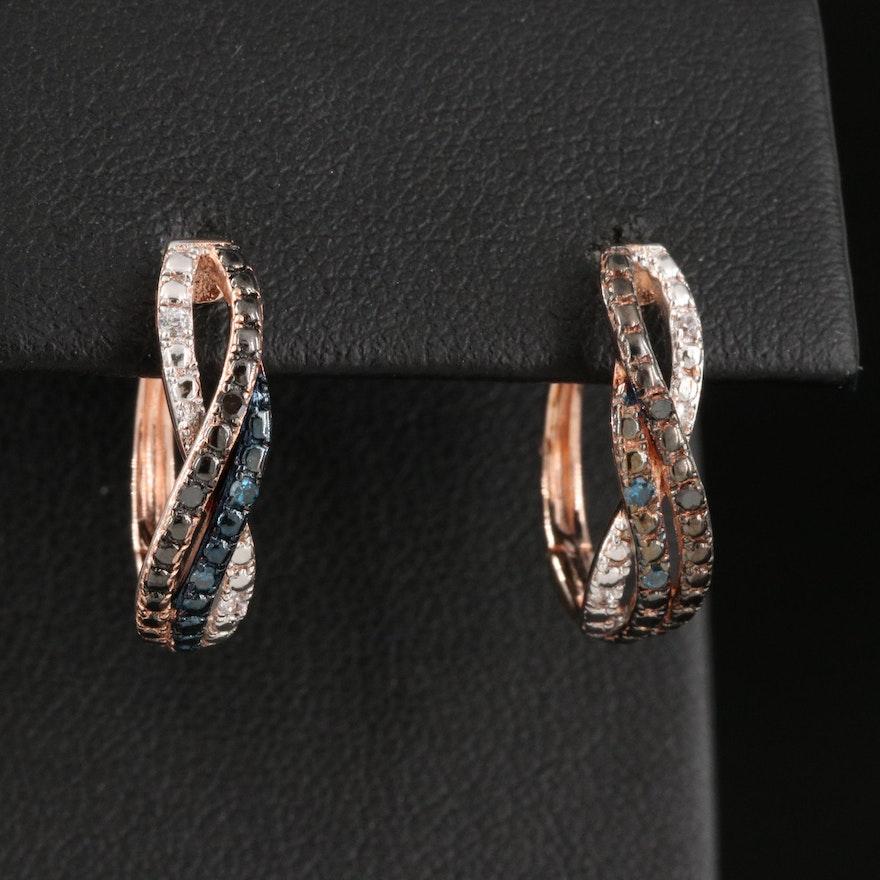 Sterling Silver Diamond and Cubic Zirconia Braided J-Hoop Earrings