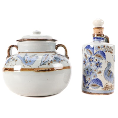 Hand-Painted El Palomar Glazed Stoneware Decanter and Lidded Jar