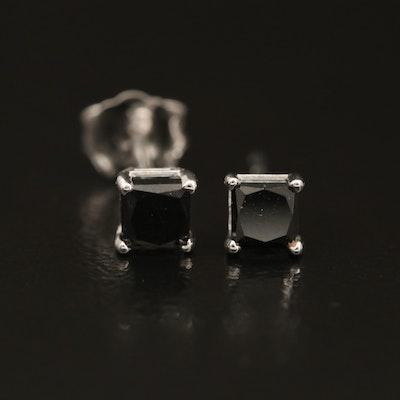 14K Fancy Black Diamond Solitaire Earrings