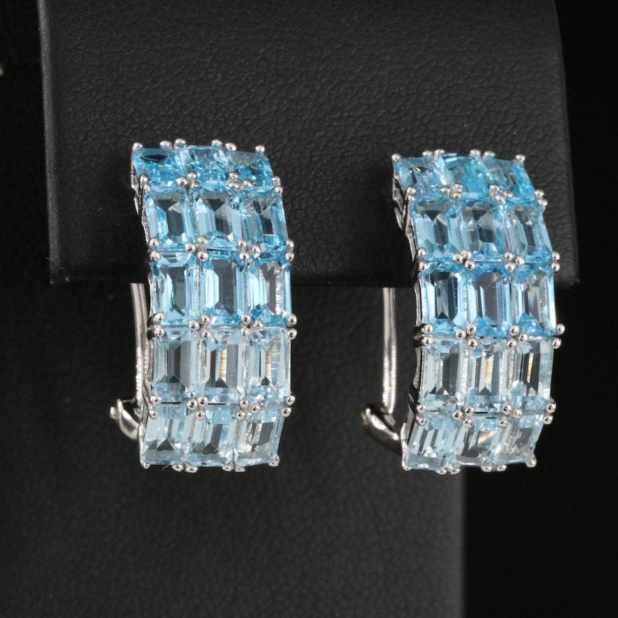 Sterling Silver Swiss Blue Topaz J Hoop Earrings
