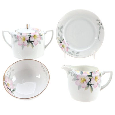 Nippon Hand-Painted Porcelain Sugar, Creamer and Condiment Bowl and Saucer
