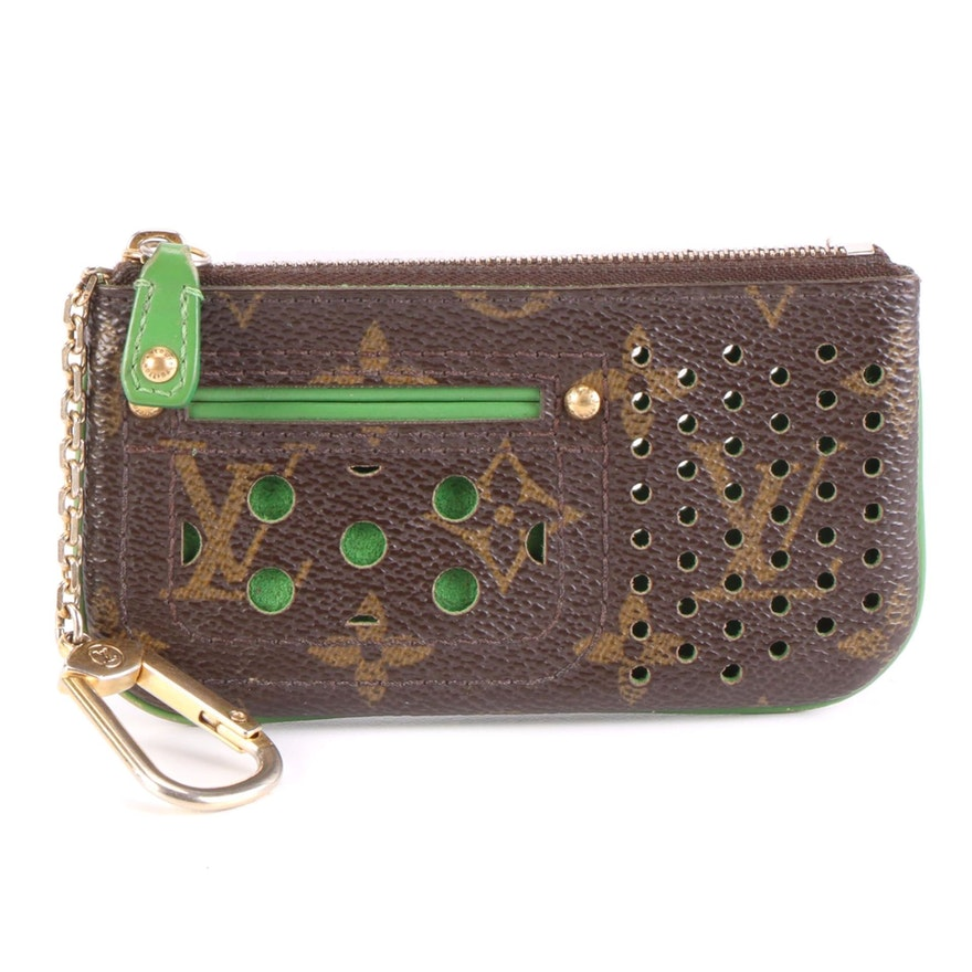 Louis Vuitton Key Pouch in Perforated Monogram Canvas and Green Leather