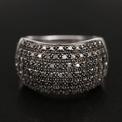 Sterling Domed Pavé Black Diamond Ring