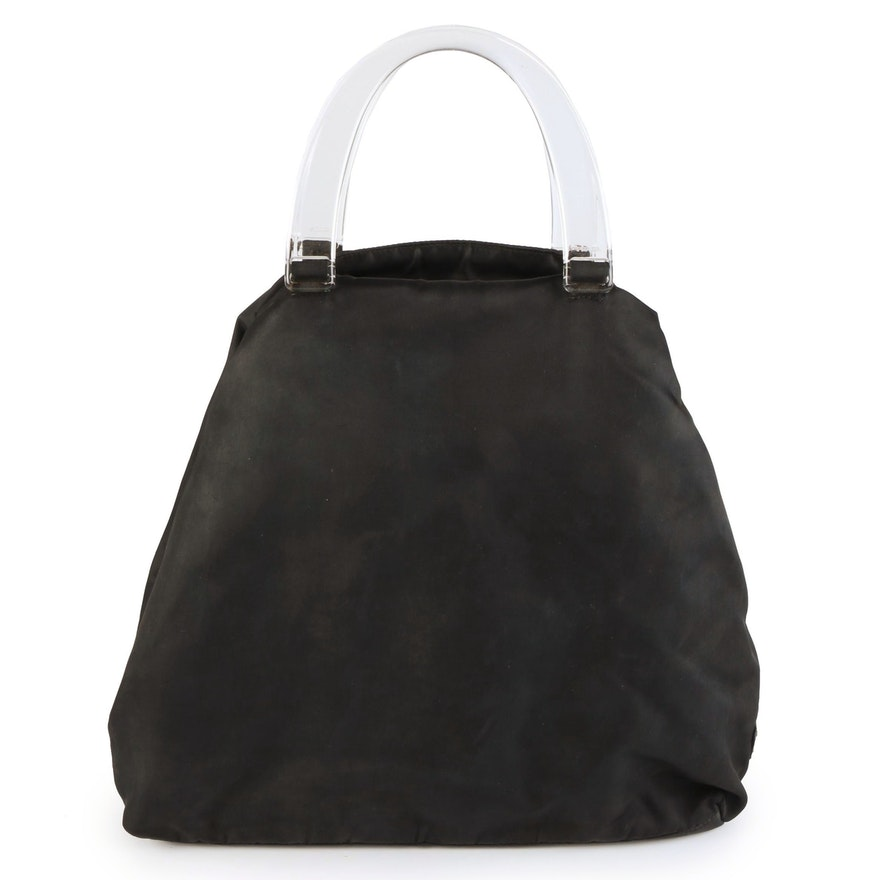 Prada Top Handle Bag in Black Tessuto Nylon with Plastic Handles
