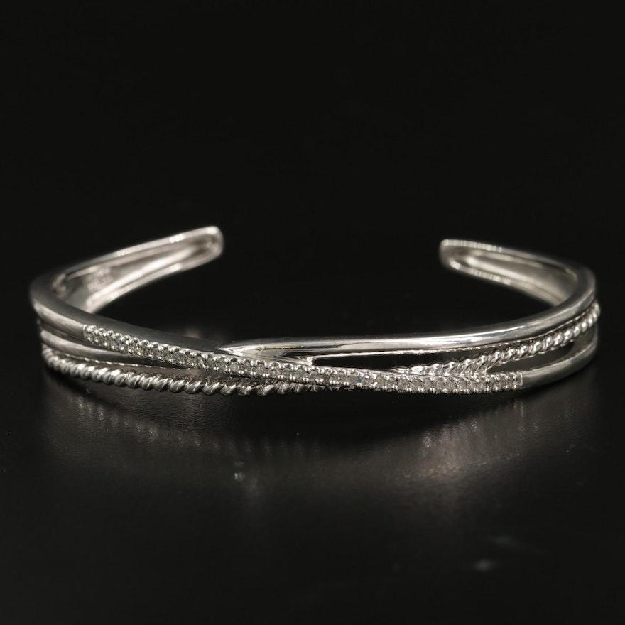 Sterling Diamond Crossover Cuff