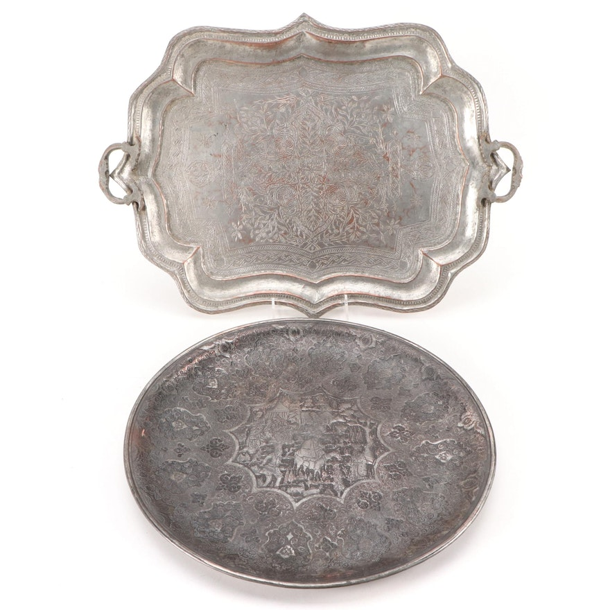 Indo-Persian Silvered Copper Trays, Mid to Late 20th Century