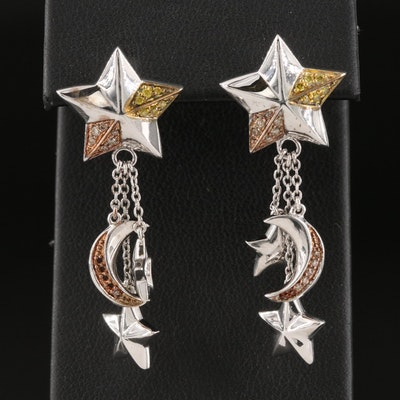 Sterling Silver Diamond Moon and Stars Drop Earrings