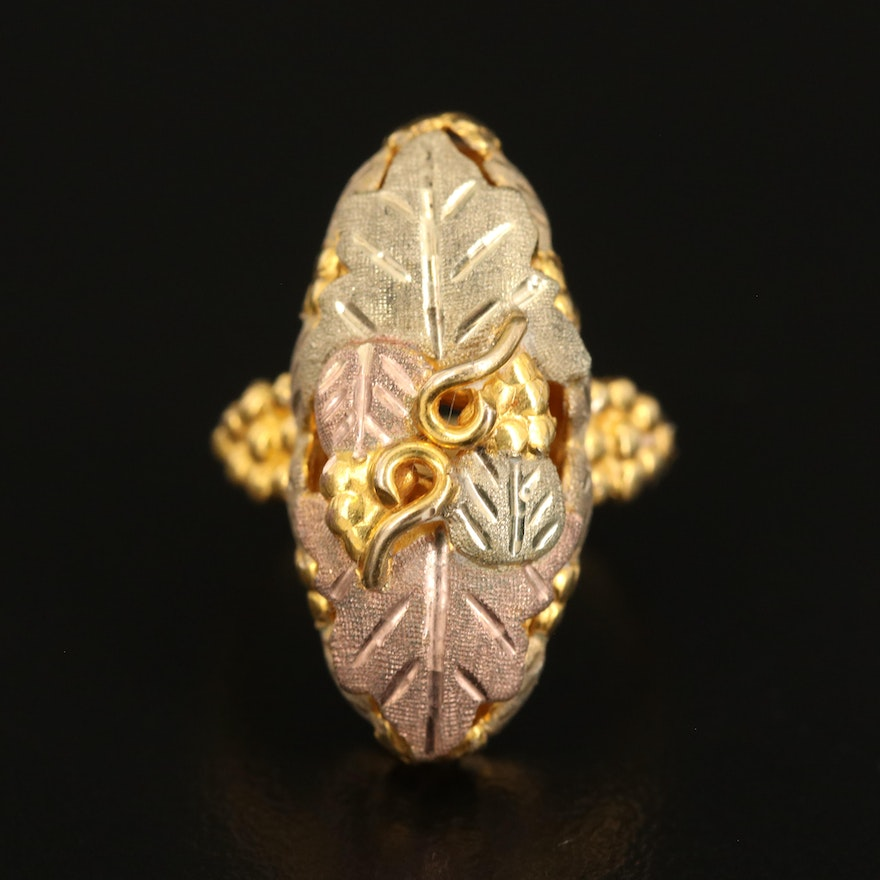 10K Foliate Ring with Scrollwork and 12K, Rose and Green Gold  Accents