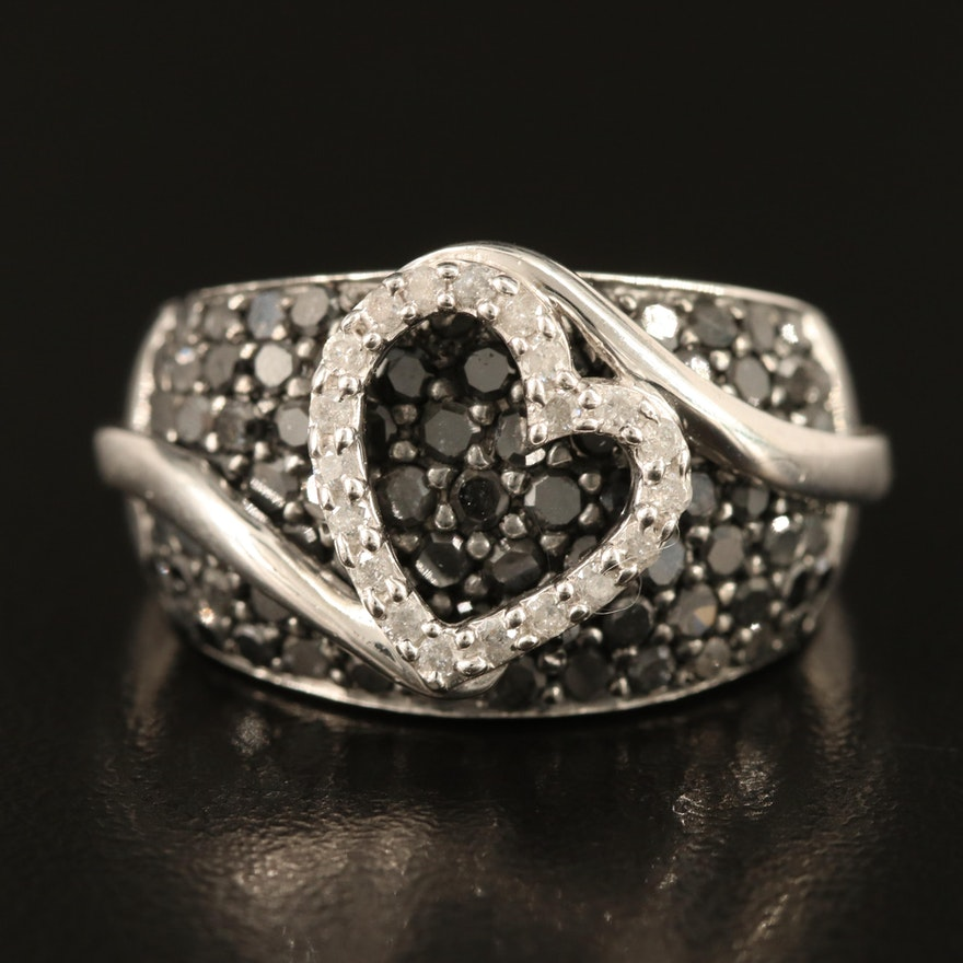Sterling Silver 1.98 CTW Pavé Diamond Heart Ring