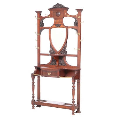 Blyth & Sons Aesthetic Movement Brass-Mounted Walnut Hall Stand, circa 1900