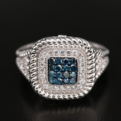 Sterling Fancy Blue Diamond and Cubic Zirconia Ring with Twisted Rope Detail