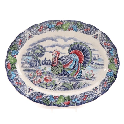 Blue and White Transferware Oval Tom Turkey Platter with Hand-Painted Accents