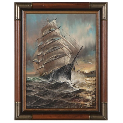 Preston Willis Nautical Oil Painting of Ship at Sea, 20th Century