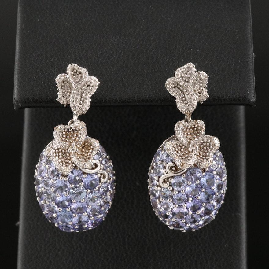 Sterling Silver Tanzanite and Diamond Drop Earrings