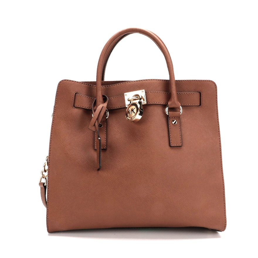 MICHAEL Michael Kors Hamilton Two-Way Bag in Brown Saffiano Leather