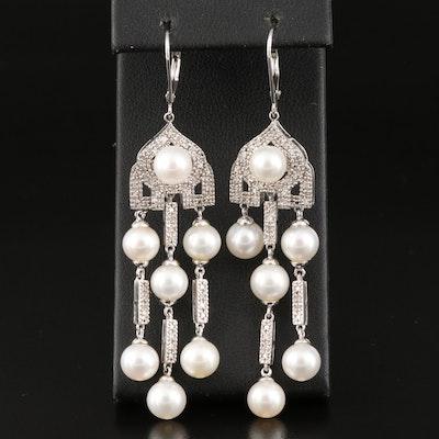 Sterling Silver Diamond and Pearl Chandelier Earrings