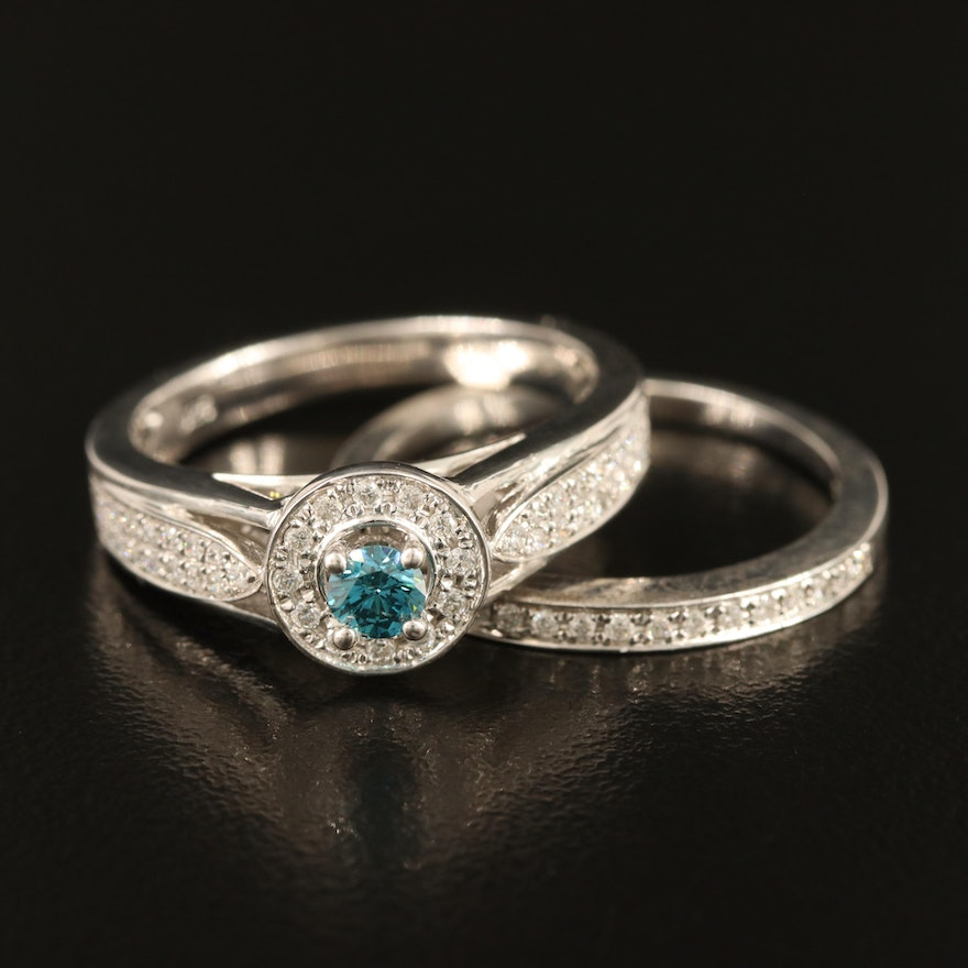 Sterling Diamond Ring and Band Set