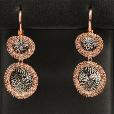 Sterling Diamond Geometrical Drop Disc Earrings
