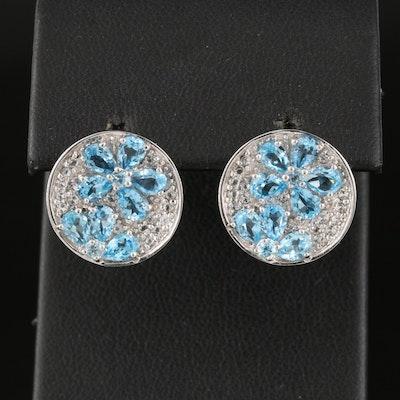 Sterling Silver Swiss Blue Topaz Button Earrings