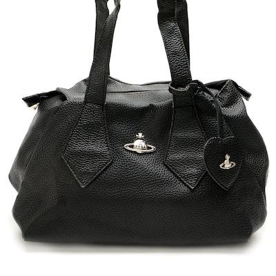 Vivienne Westwood Orb Bag in Black Pebble Grain Leather
