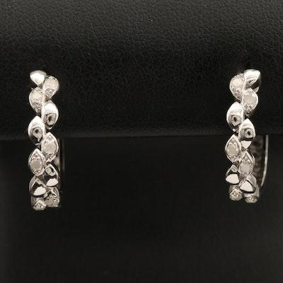 Sterling Diamond Hinged Geometric Hoop Earrings