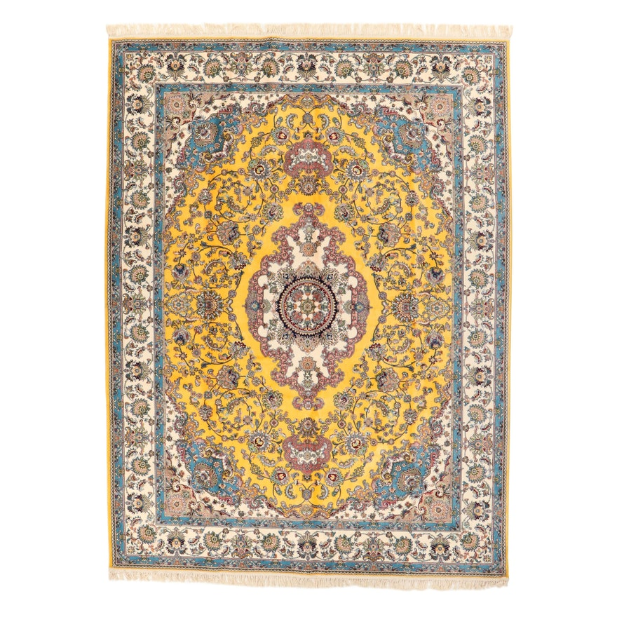 9'11 x 13'11 Machine Made Persian Tabriz Style Art Silk Rug, 2010s