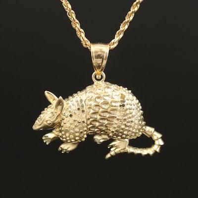 14K Armadillo Pendant Necklace