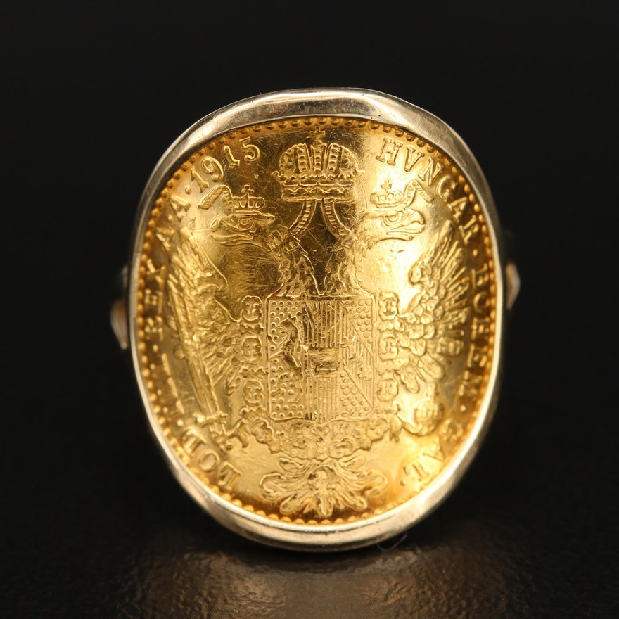 14K Ring with Austrian Habsburg Restrike Coin