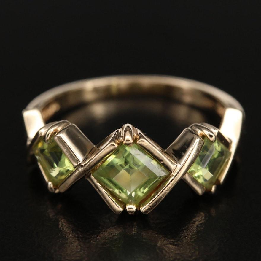 14K Peridot Bezel Ring
